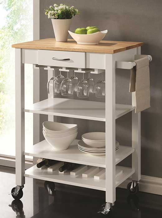 Natural Kitchen Cart With Butcher Block Top : Kitchen Carts White/Natural Kitchen Cart with Butcher Block Top - Affordable Portables