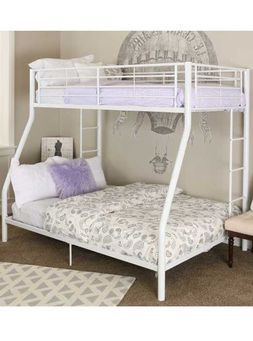 White Metal Twin Over Full Bunk Bed Rcwilley Image1 500