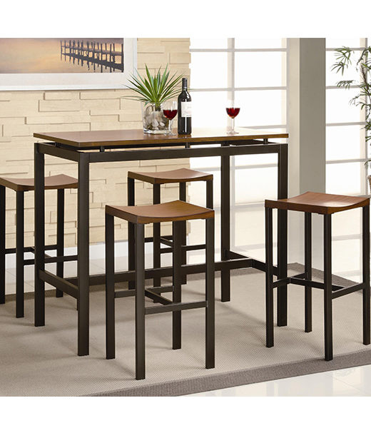 Great Atlus Counter Height 5 Piece Contemporary Black Metal Table