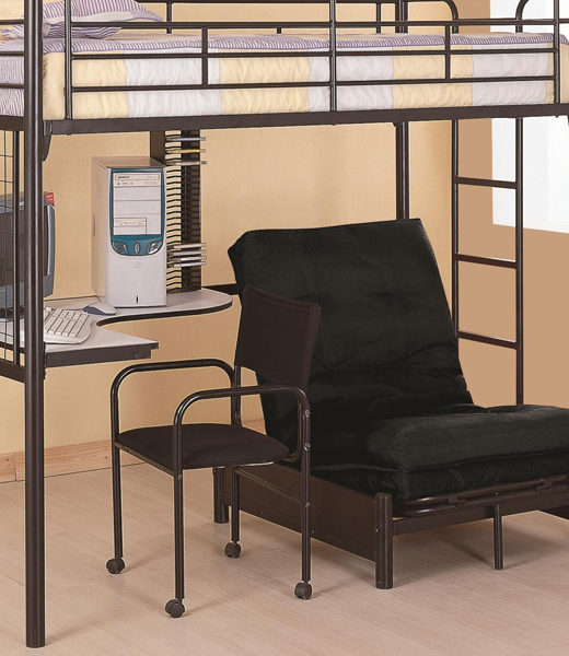 Twin Loft Bunk Bed with Futon Chair & Desk   Affordable Portables