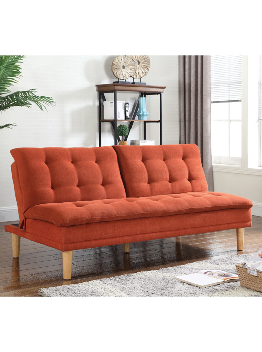 Excellent Click Sofa Bed with Button Tufting Orange - Affordable Portables PQ12