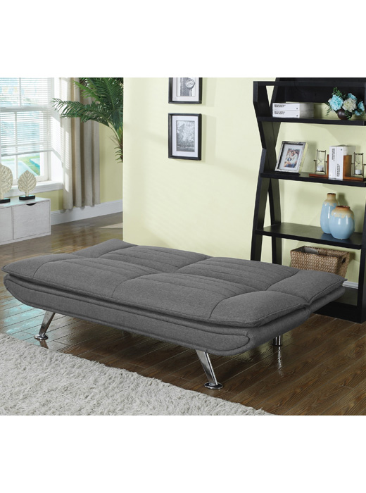 Click Grey Sofa Bed With Chrome Legs Affordable Portables
