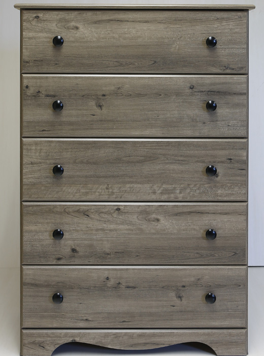 Made In Usa 5 Drawer Chest In Weathered Gray Affordable