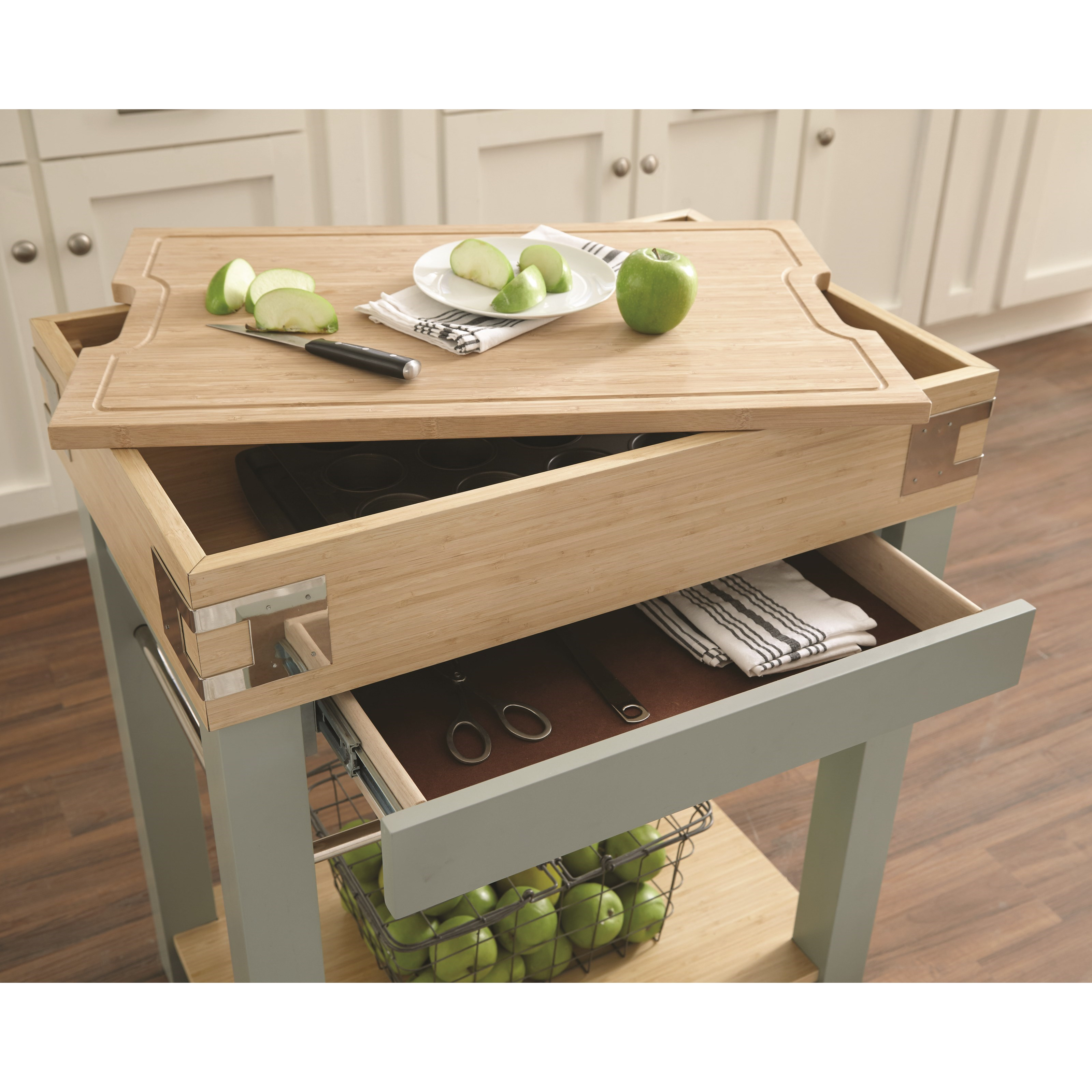 Scott Living Cap102986 Kitchen Cart Cutting Board Affordable Portables
