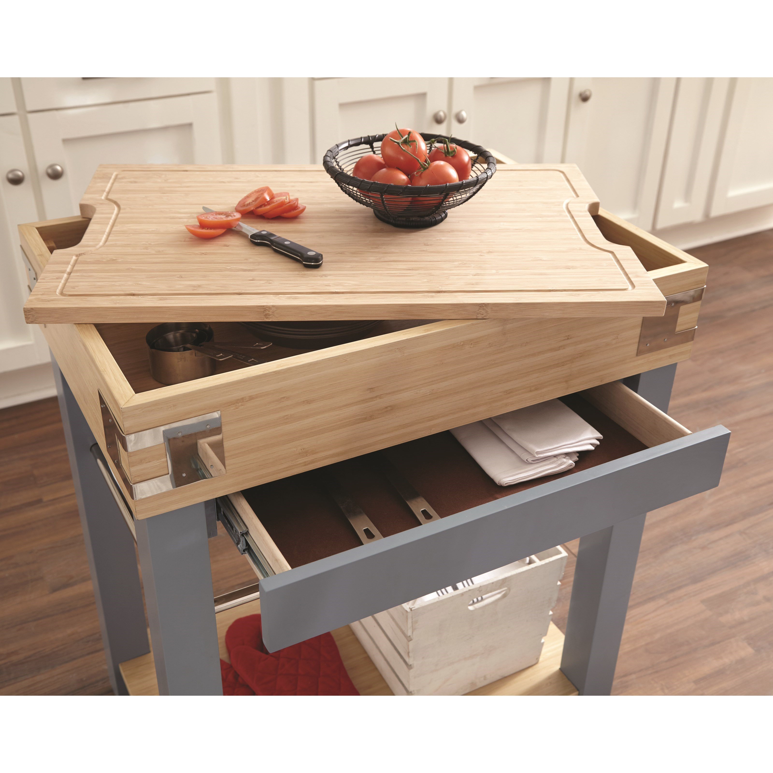 Scott Living Cap102987 Kitchen Cart Cutting Board Affordable Portables