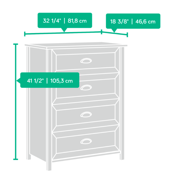 County Line 4 Drawer Chest Affordable Portables