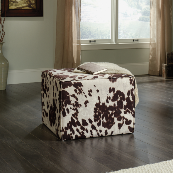 Elsie Ottoman Faux Cowhide Affordable Portables