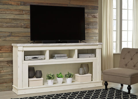 TV Stand Chipped White Affordable Portables