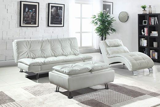 Dilleston White Sofa Bed Room view Affordable Portables