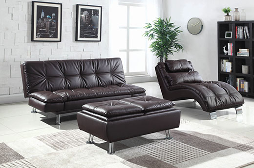 Dilleston Brown Sofa Bed Room view Affordable Portables