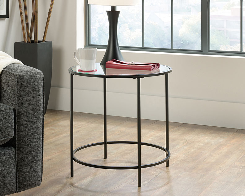 Glass Top End Table Black Affordable Portables
