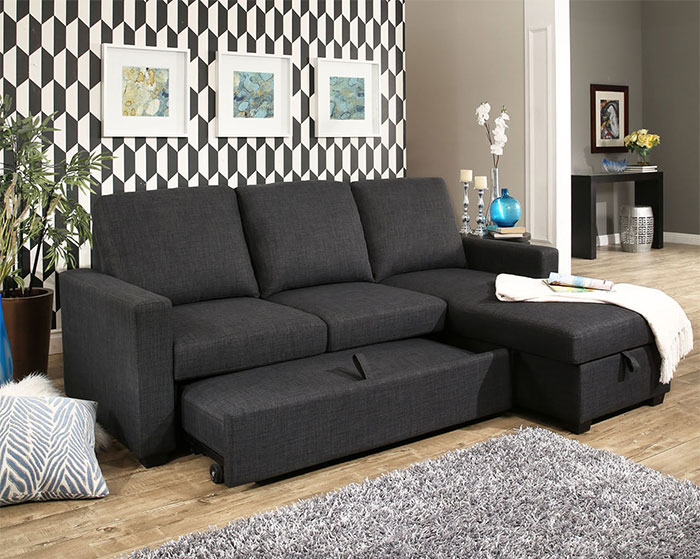Newport Grey Sectional Sleeper Slides Out