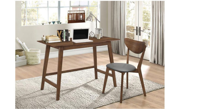 2 Piece Writing Desk Set in Walnut Finish. Available at Affordable Portables stores in Chicago, Evanston, and online.